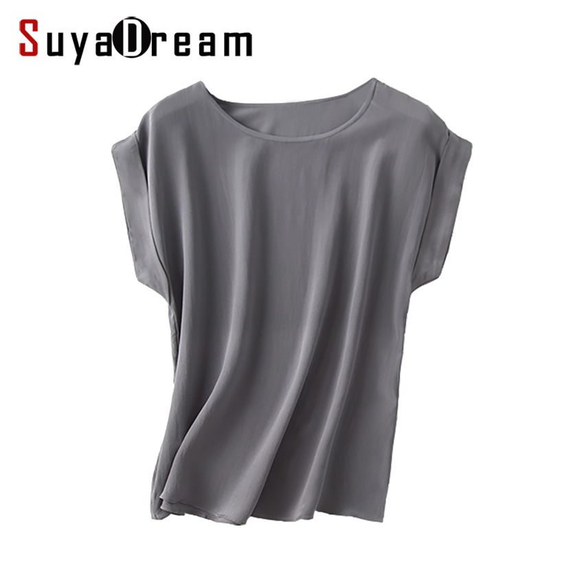 Women Real Silk T Shirt Short Bat sleeved Solid chiffon loose shirt 100% Natural silk Basic Top Plus size 2018 Summer bottoming