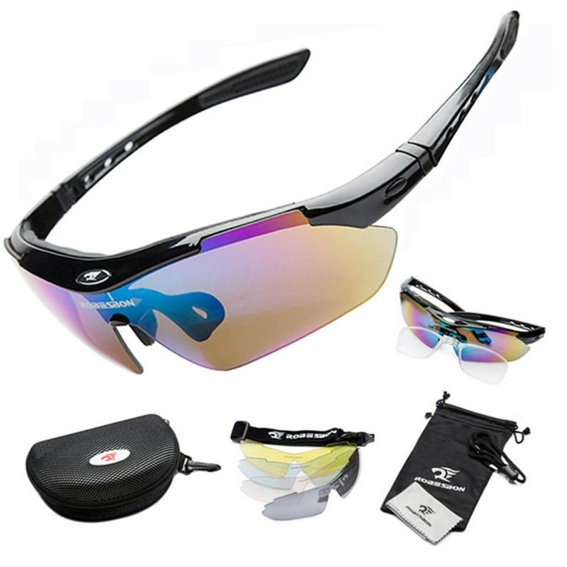 ROBESBON Sports Men Sunglasses Road Cycling Glasses Mountain Bike Bicycle Riding Protection Goggles Eyewear 5 Lens with UV400