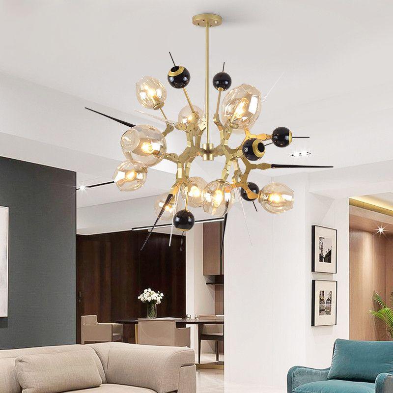 Pecial Förmigen Kronleuchter Beleuchtung Persönlichkeit Esszimmer Wohnzimmer Gold Kronleuchter Moderne Schlafzimmer led Kreative Glas Lichter