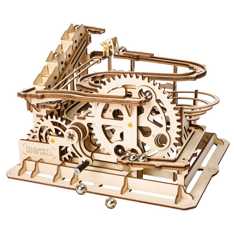 Robotime 4 Kinds Marble Run Game DIY Waterwheel Coaster Wooden Model Building Kits Assembly Toy Gift for Children Adult LG501