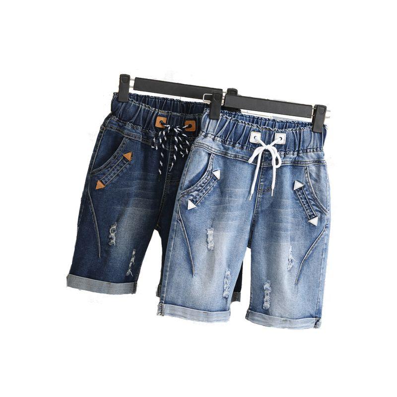Large size women fat mm summer students denim shorts female 200 pounds plus size five <font><b>points</b></font> wide leg harem trousers MZ1573
