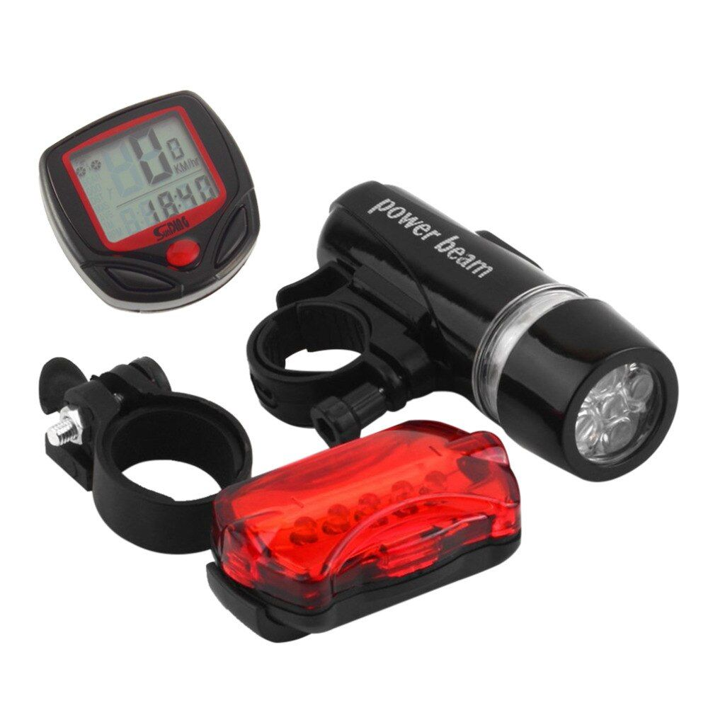 Bicycle Speedometer and 5 LED Mountain Bike Cycling Light Head and Rear Lamp Light Super Bicycle Accessories Set drop shipping