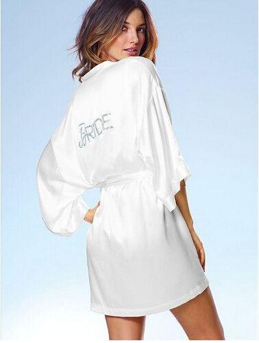 Satin Faux Silk Wedding Bride Bridesmaid Robes,White Bridal Dressing Gown/ Kimono Bathrobes,