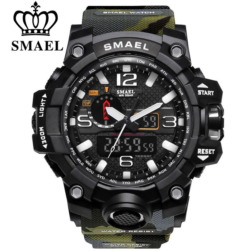 SMAEL Men Outdoor Sports Watches Military Digital Watch Men's Fitness 1545 50m Waterproof Wristwatch <font><b>Reloj</b></font> Hombre Montre Homme
