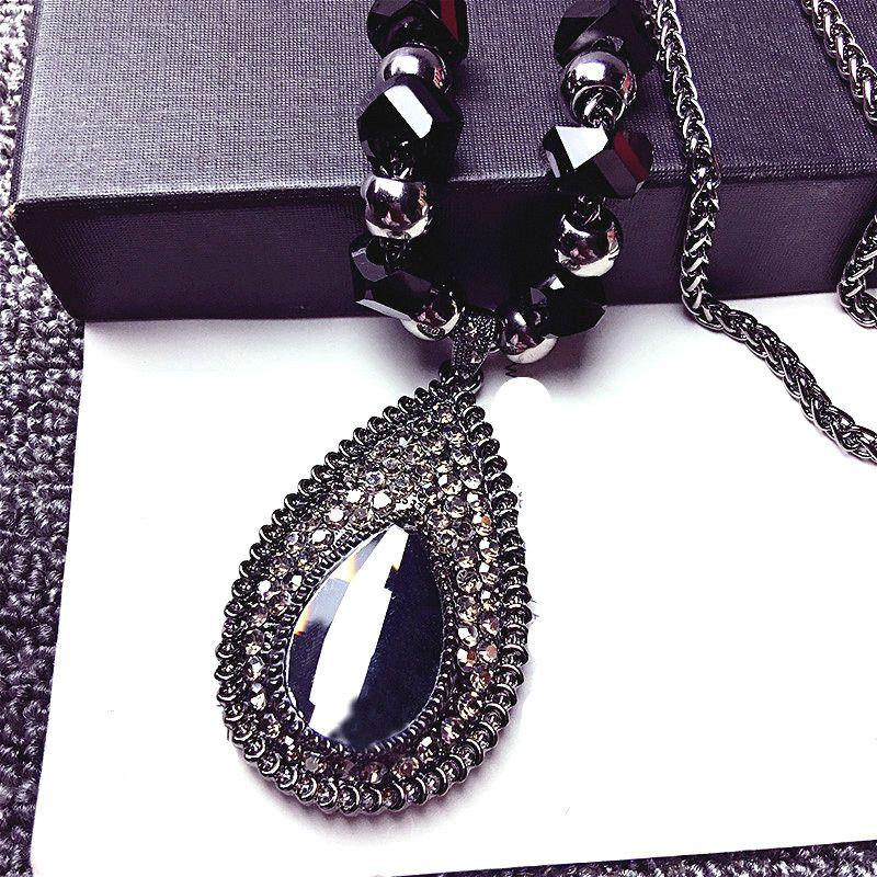 Shinning Water Drop Rhinestone Long Necklace Women Bijoux Fashion Simple Sweater Pendant Jewelry Accessories
