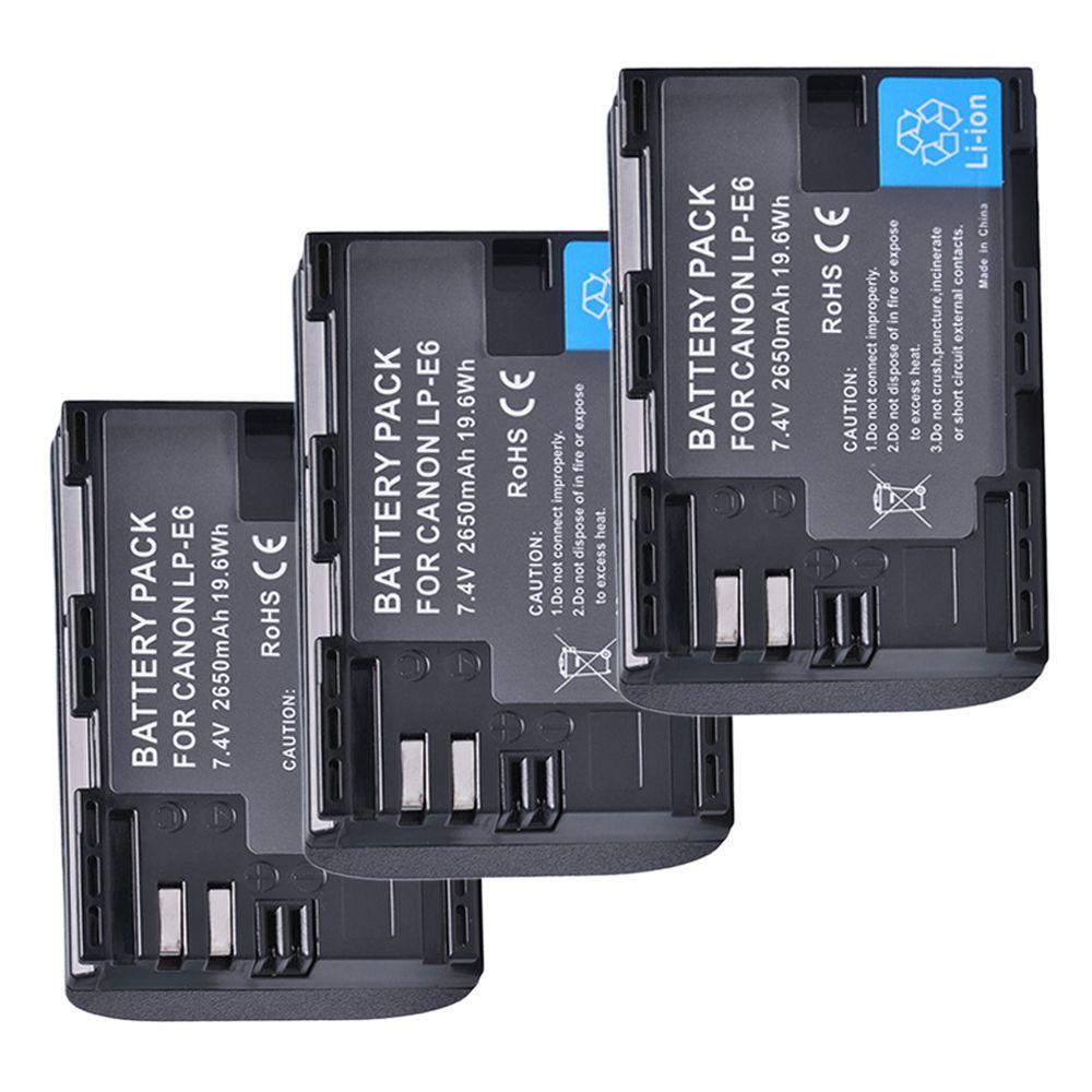 3Pcs 2650mAh LP-E6 LP E6 LP-E6N Camera Battery for Canon EOS 5DS 5D Mark II Mark III 6D 7D 60D 60Da 70D 80D DSLR EOS 5DSR Camera