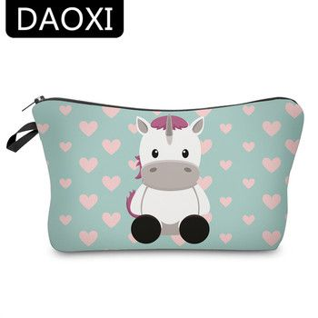 DAOXI 3D Unicorn Printing Cosmetic Bags Cute Cow Heart Organizer Women Makeup Necessaries for Travel YY10183