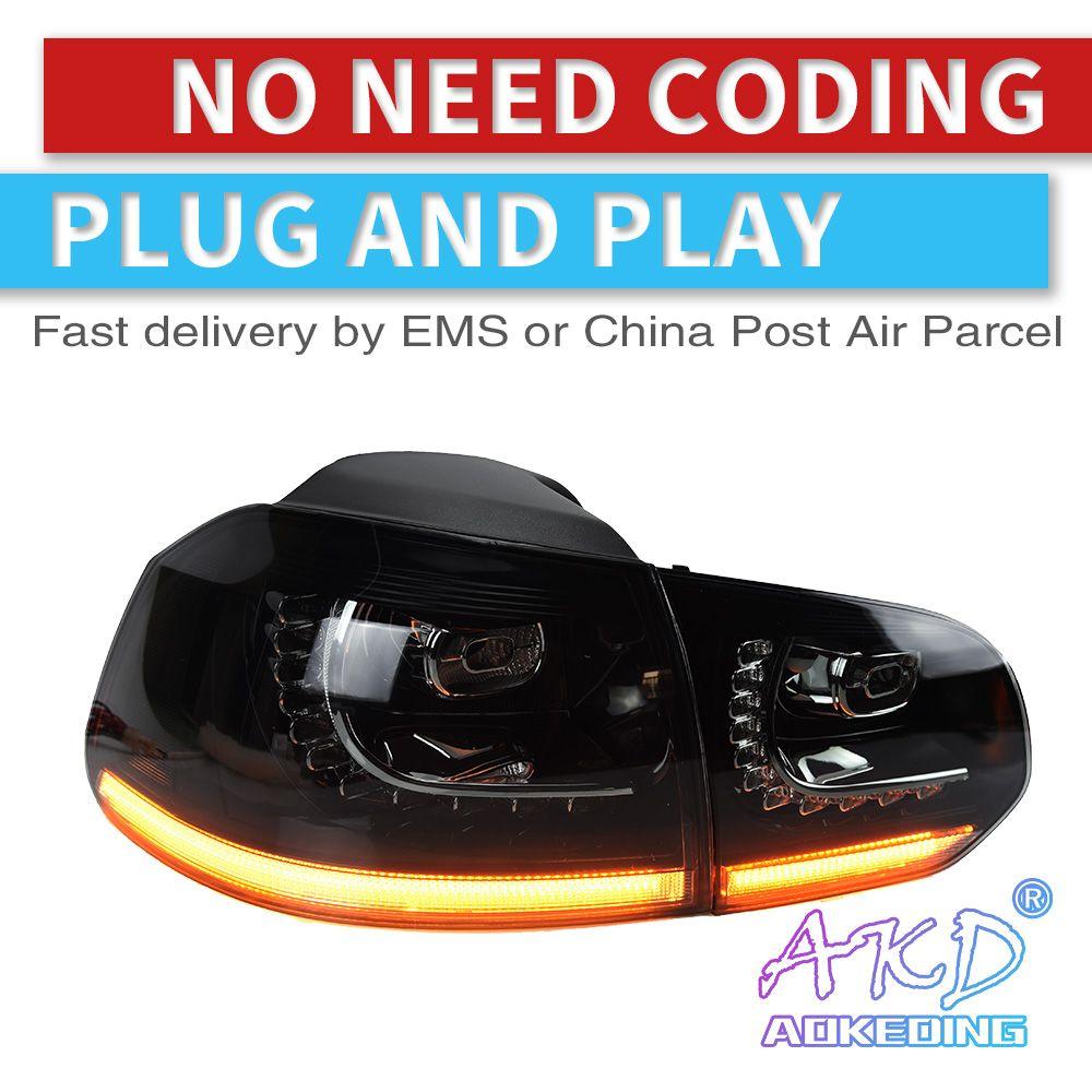 AKD tuning autos Schwanz lichter Für V W Golf 6 Golf6 MK6 R20 Rückleuchten LED DRL tagfahrlicht Nebel lichter dynamische signal licht