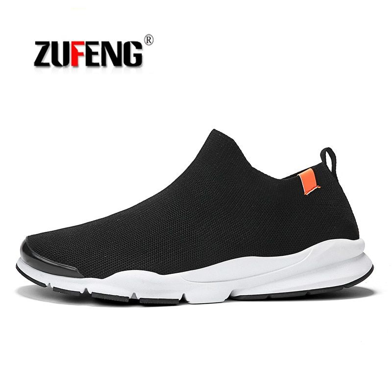 Breathable Men Running Shoes Socks Sneakers Summer 2018 Black Lightweight Fly Line Sports Shoes Comfortable Slip-On Walking Sho