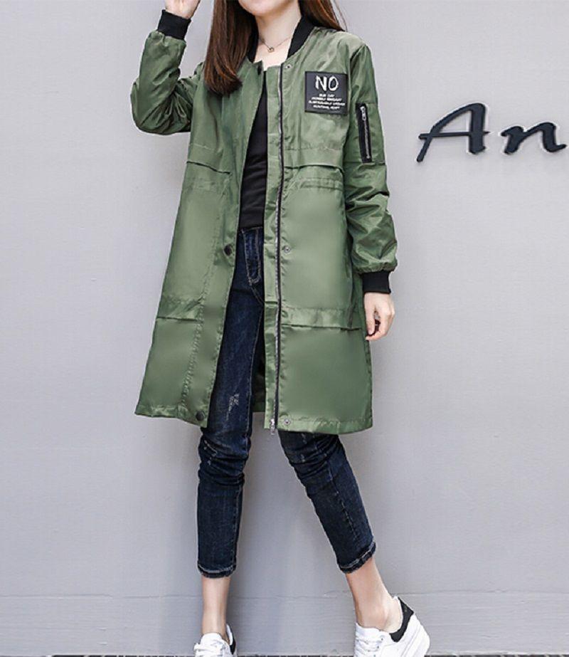Trench manteau pour femme Streetwear fermeture éclair manches longues printemps manteau Casaco Feminino armée vert imperméable pardessus femme