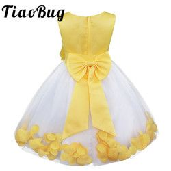 TiaoBug Infant Vestido Infantil Flower Girls Dresses Petals Elegant Pageant Formal Flower Girl Dress for Wedding Party Dresses