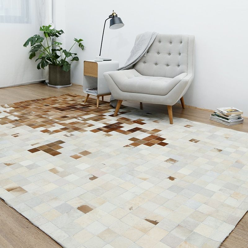 American style luxury cowhide seamed plaid carpet, natural calfskin fur carpet for living room decoration office carpet