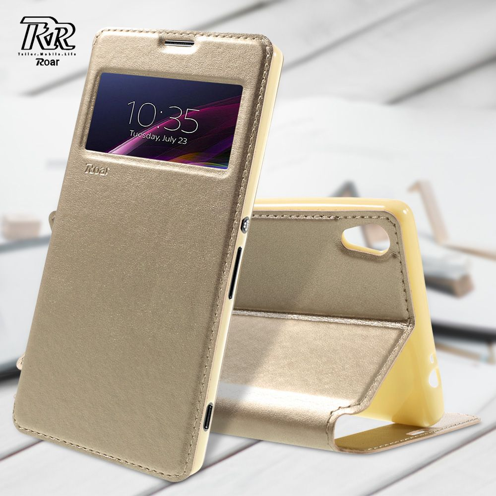 ROAR KOREA for Sony Xperia XA Ultra Leather Case Noble Leather View Window Phone Cover for Sony Xperia XA Ultra / C6 Shell