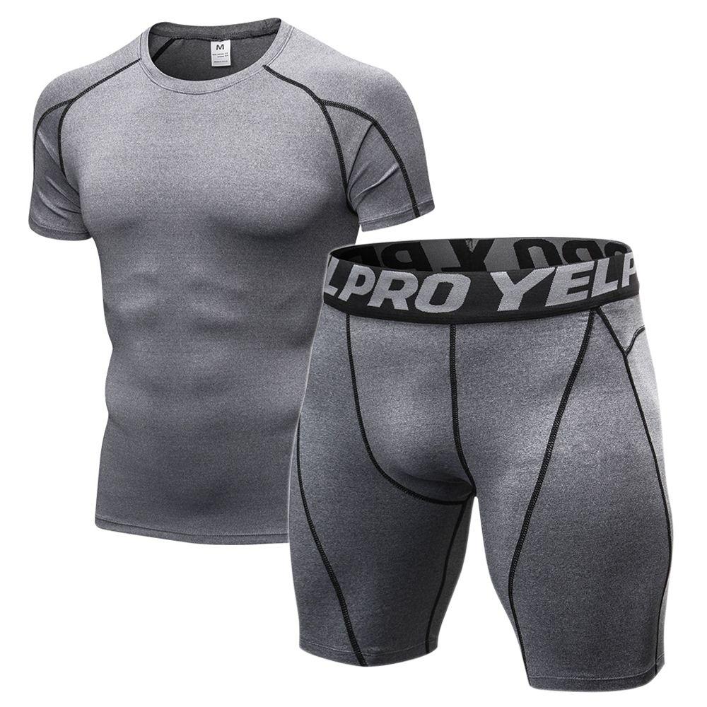 Hommes de Compression Gym Vêtements Hommes Jogging Costumes Jeux de Sport Fitness Vêtements Noir Collants de Course T-shirt Shorts Gym Porter hommes