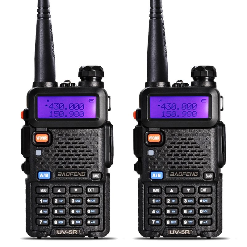 2 Pcs BaoFeng UV-5R Talkie Walkie VHF/UHF 136-174 Mhz et 400-520 Mhz Double Bande Two Way Radio Baofeng uv 5r Portable Talkie Walkie
