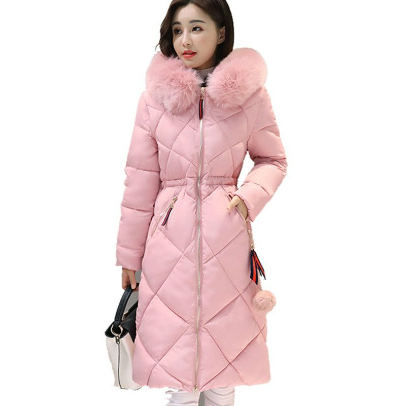 2017 Long Parkas Women Winter Coat Large Fur Collar Jacket Female Warm Outwear Thin Padded Cotton Jacket Coat Women Clothing