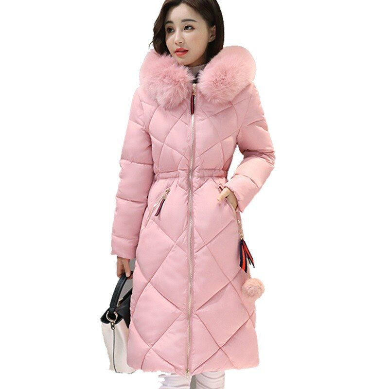 2017 Long Parkas Women Winter Coat Large Fur Collar Jacket Female Warm Outwear Thin Padded Cotton Jacket Coat Women Clothing