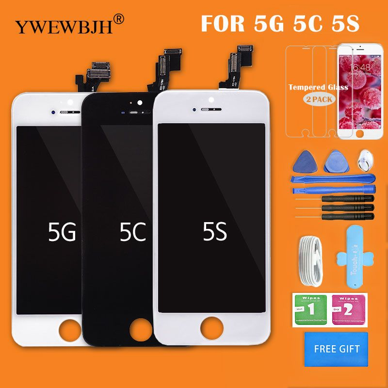 YWEWBJH AAA LCD  For iphone 5s screenTouch Assembly For 5G 5C Digitizer Glass No Dead Pixel Replacement Parts Black White