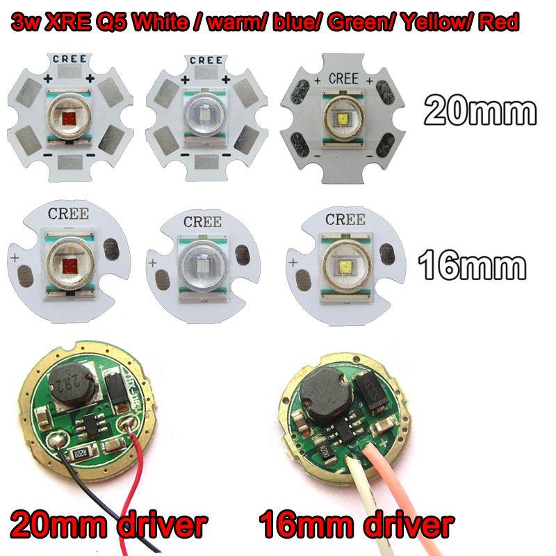 1 unids original cree xr-e q5 blanco cálido rojo azul verde amarillo 1 w-3 w linterna led light + 20mm/16mm base + 3 v 3 w 5 w led conductor