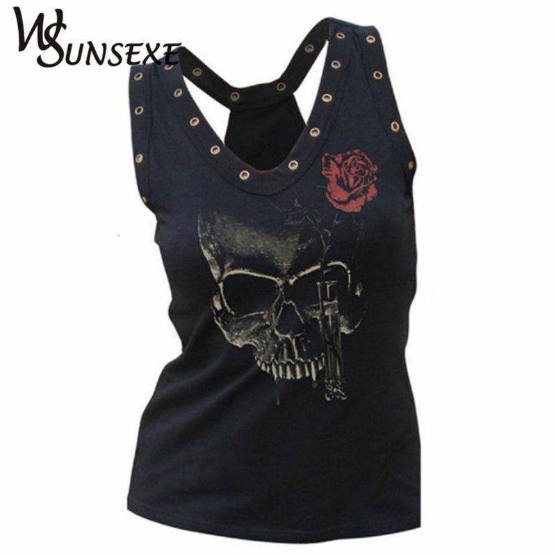 Évider les femmes tête de crâne 3d imprimé t-shirts Blusa Hip Hop été col en v t-shirt Femme Punk Style trou hauts vêtements bon marché