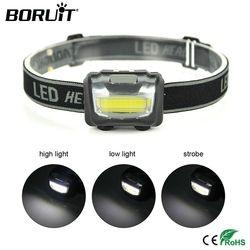 BORUiT COB LED Mini Headlamp Rainproof Headlight Outdoor Camping Head Torch Lantern Use AAA Battery Flashlight