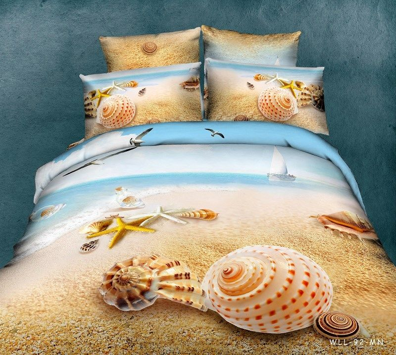 beach bedding set queen size 3d printed starfish sandy coverlets king comforter duvet covers cotton woven bed sheet adult couple