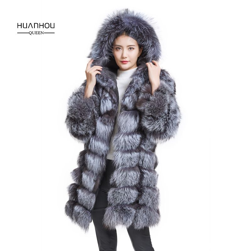 Huanhou queen real silver fox fur coat with hood,fashion warm fox fur long coat, women winter coat.