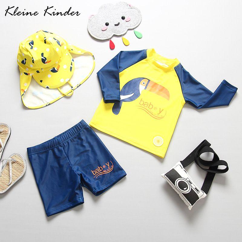Separate kinder Badeanzug mit Sonne Hut für Kleinkind Baby Jungen Papagei Druck Gelb Volle Hülsen Kinder Zwei Stück Bade anzug