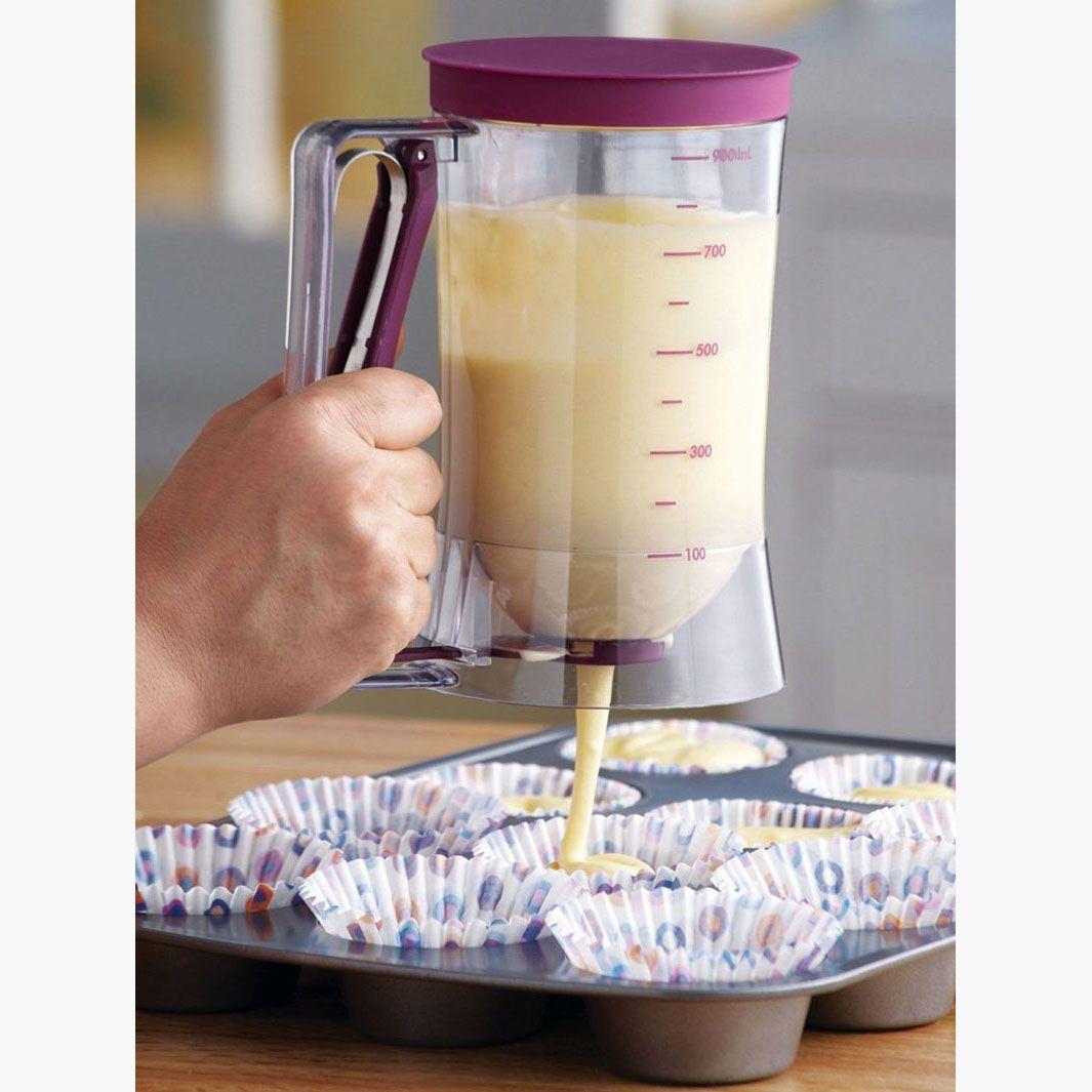 900 ml Plastic Pfannkuchenteig Spender Praktische Muffin Cupcakes Gebäck Dessert Werkzeuge