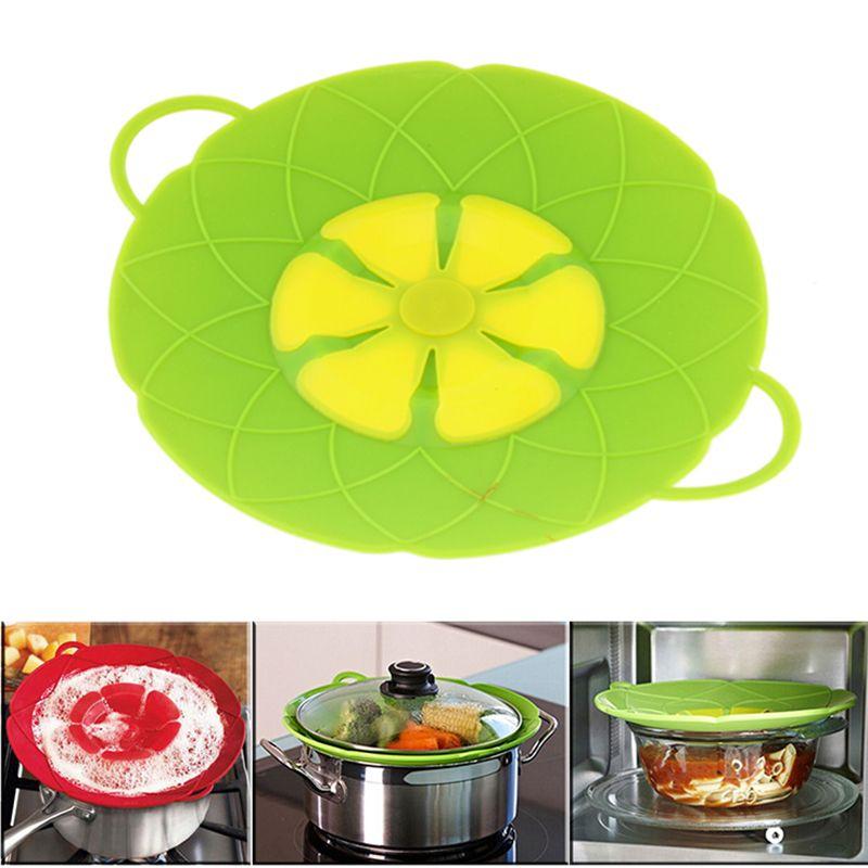 Multi-fonction outils de cuisson fleur ustensiles de cuisine pièces vert Silicone bouillir sur le couvercle de déversement bouchon four sûr pour Pot/casserole couverture 10