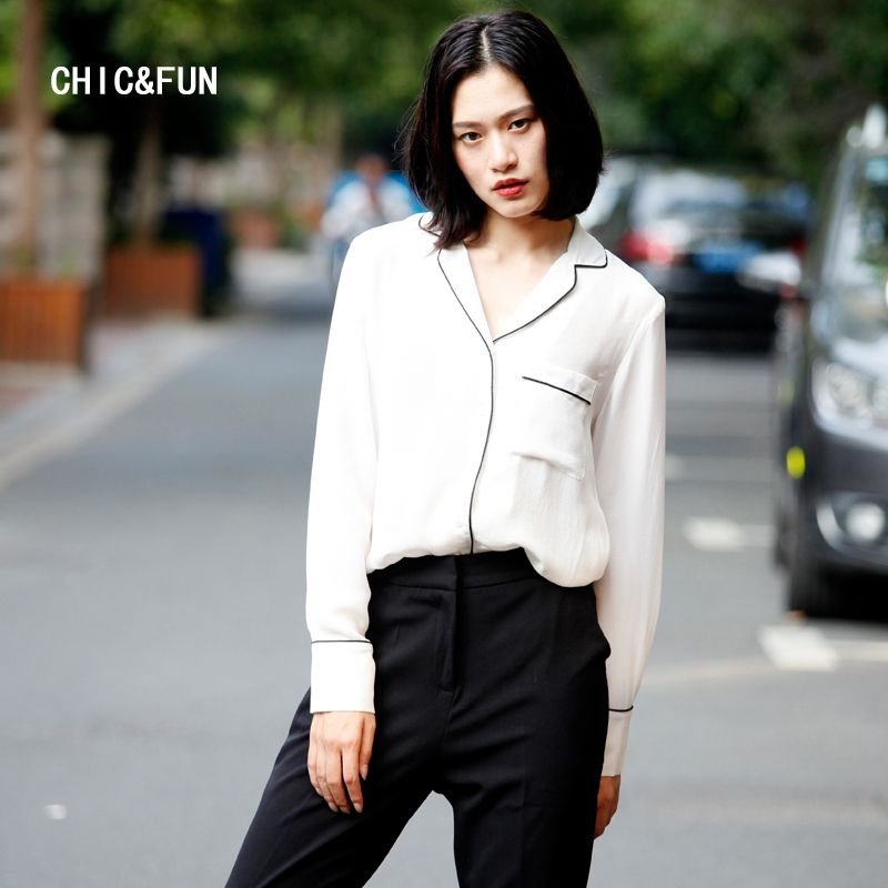 [CHIC&FUN]White Shirt Female 2018 Autumn New Silkworm Silk Pajamas Style Shirt Women Loose Simple Long Sleeves
