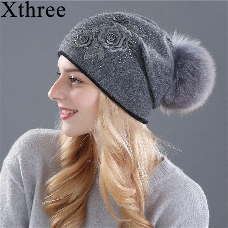 Xthree femmes de chapeau d'hiver De fourrure de Lapin laine tricoté chapeau la femelle de la vison chapeaux pour femmes bonnets