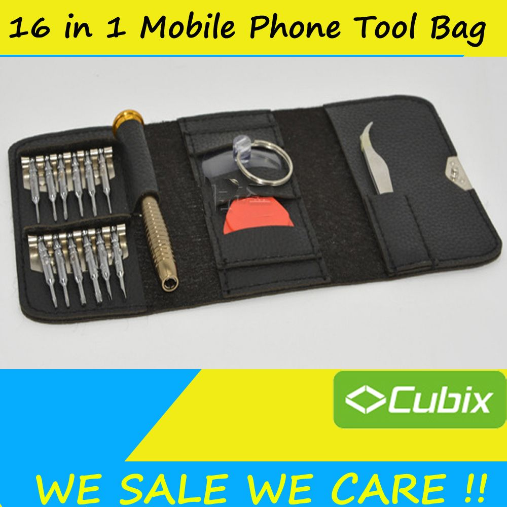 16 in 1 Tool Bag For iPhone 7 For Samsung Repair Opening Tools Kit Pry Crowbar Screwdriver Set with Storage Leather Pouch