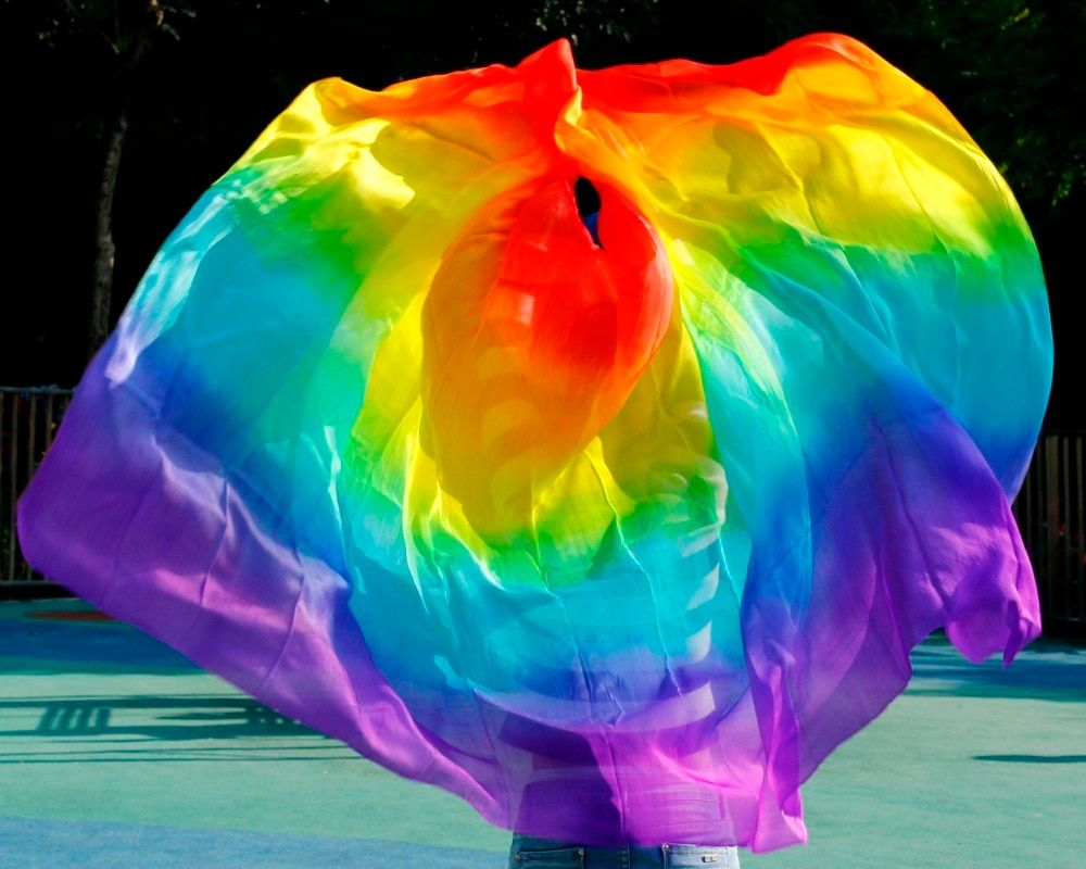 Conception 100% soie véritable danse du ventre voile, pas cher voiles de danse, tari perut kostüm voile en gros 250 270*114 cm Arc-En-couleurs