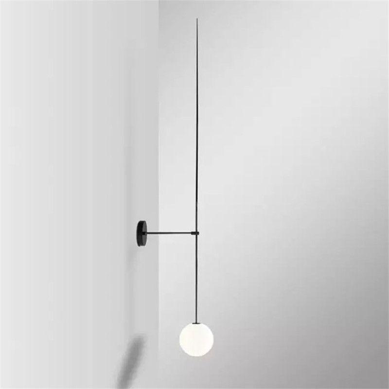 LED moderne ligne lampes murales minimalisme boule de verre lampes murales salon chambre chevet linéaire applique miroir lumières Loft décor