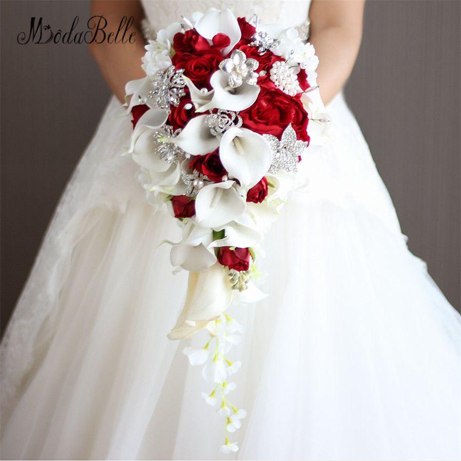 Искусственные каллы Teardrop Букеты Свадебные красная роза 2017 Свадебный букет ручной кристалл bruidsboeket вотерфол