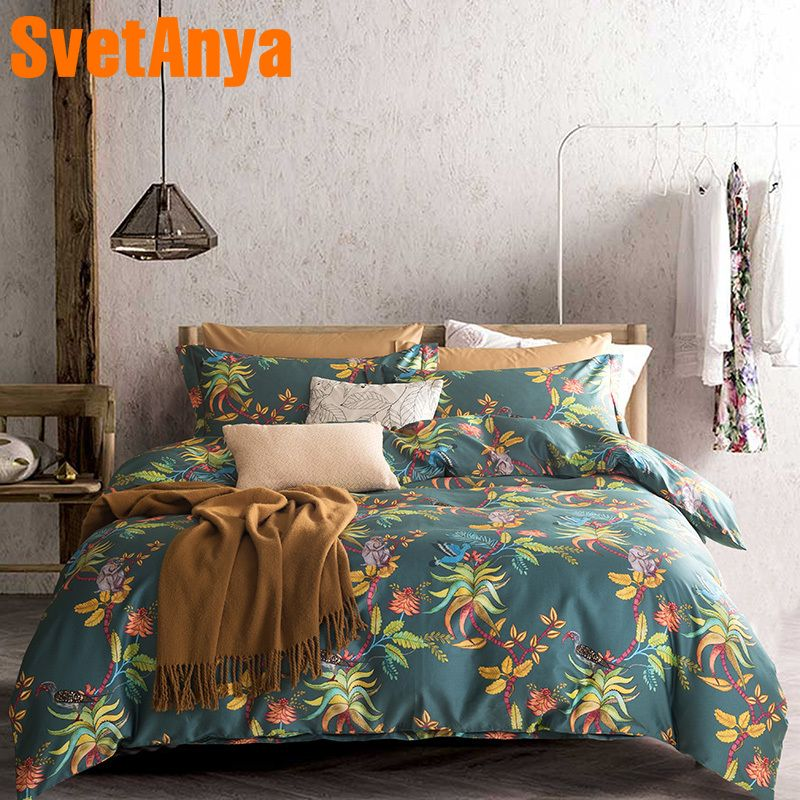 Svetanya Pastoral Style Egyptian Cotton Bedding Sets Bedsheet Pillowcases Duvet cover set Twin Queen King Double Size