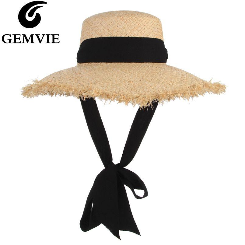 GEMVIE à la main tissage raphia chapeau de paille pour les femmes à large bord disquette chapeau de soleil chapeaux d'été dame casquette de plage avec mentonnière à la mode