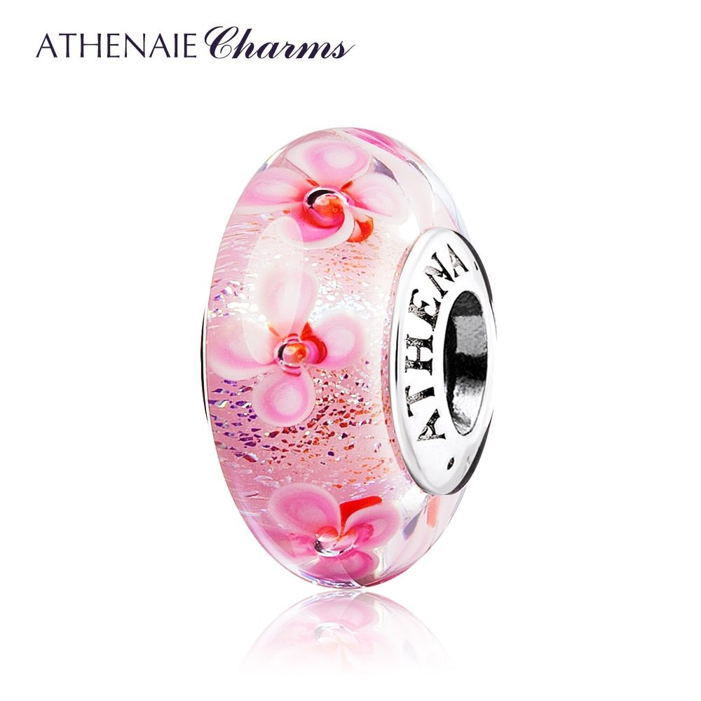 ATHENAIE 100% 925 Sterling Silver Core Pink Field of Flowers Color Pink Murano Glass Beads Fit European Bracelets Bangle
