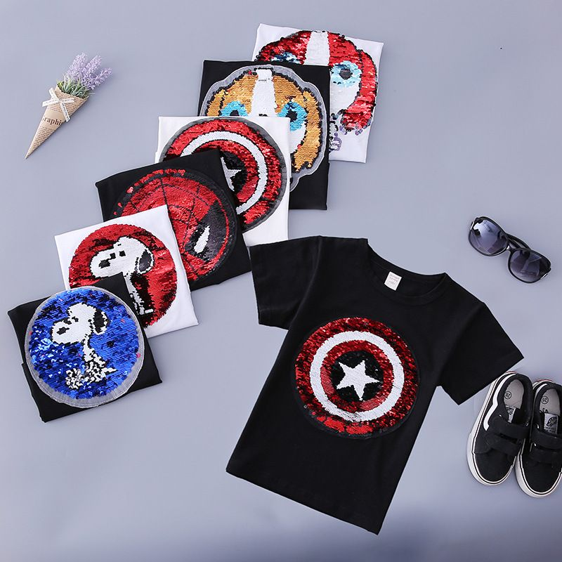 new style change face magic discoloration sequin spiderman Captain America cartoon paillettes t shirt for boys 2-8 years