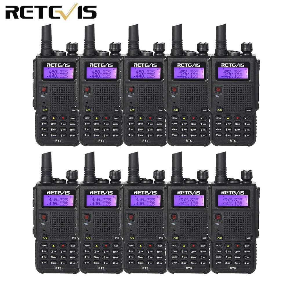 10pcs 7W Walkie Talkie Retevis RT5 VHF+UHF Dual Band Scan VOX Ham Radio Hf Transceiver A9108