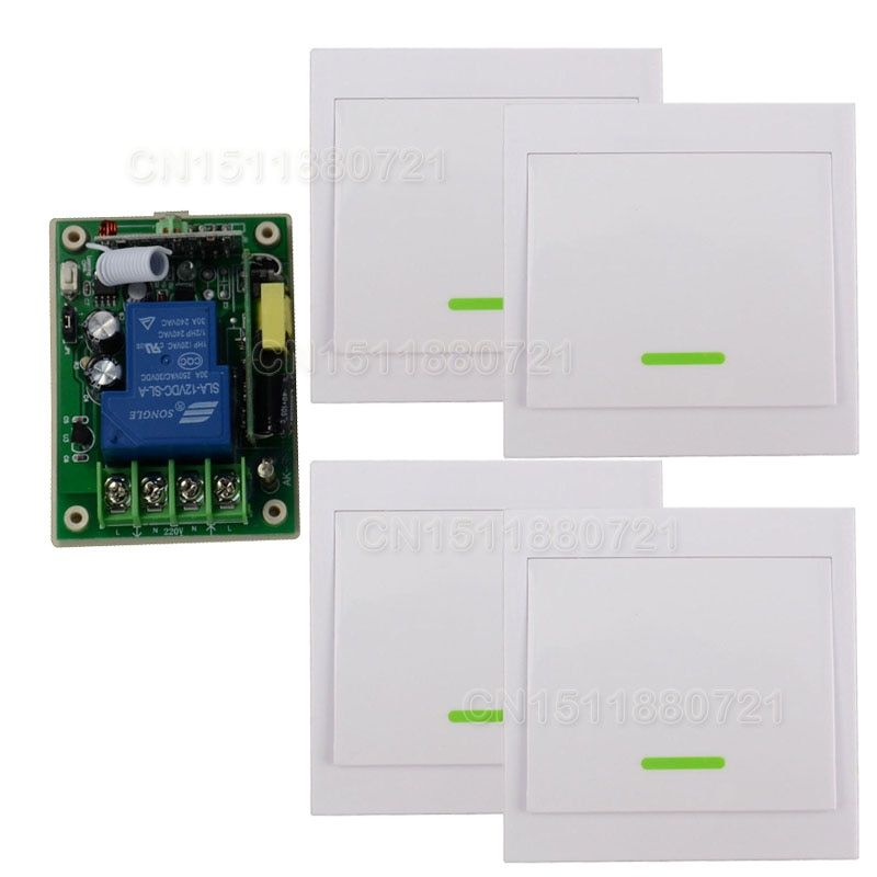 AC85V-250 V 110 V 220 V 3000 W RF Sans Fil Système de Commutateur de Commande À Distance Pour La Maison Intelligente Lumière avec 4 PCS Émetteur Mural