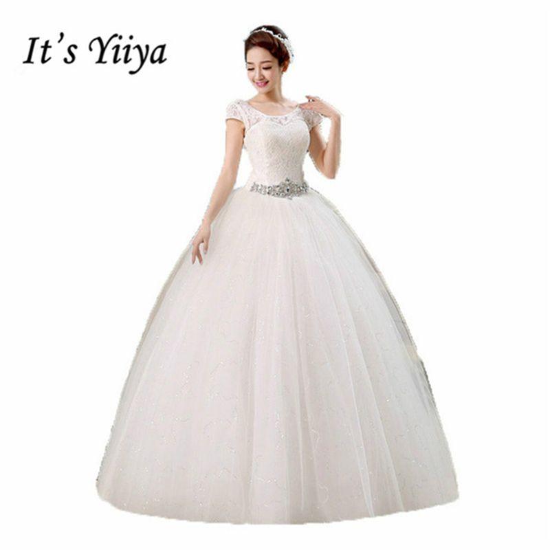 Il Yiiya 2017 O-cou Dentelle Manches Courtes Paillettes de Taille Robes De Mariage Blanc Pas Cher Parole Longueur Robe Robes De Mariée HS138