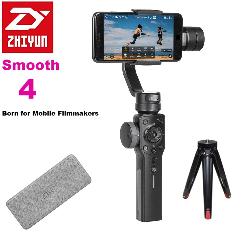 Zhiyun Smooth 4 3-Axis Focus Pull & Zoom Capability Handheld Gimbal Stabilizer for iPhone X 8Plus 8 7Plus 7 6S Samsung S9 S8+ S8