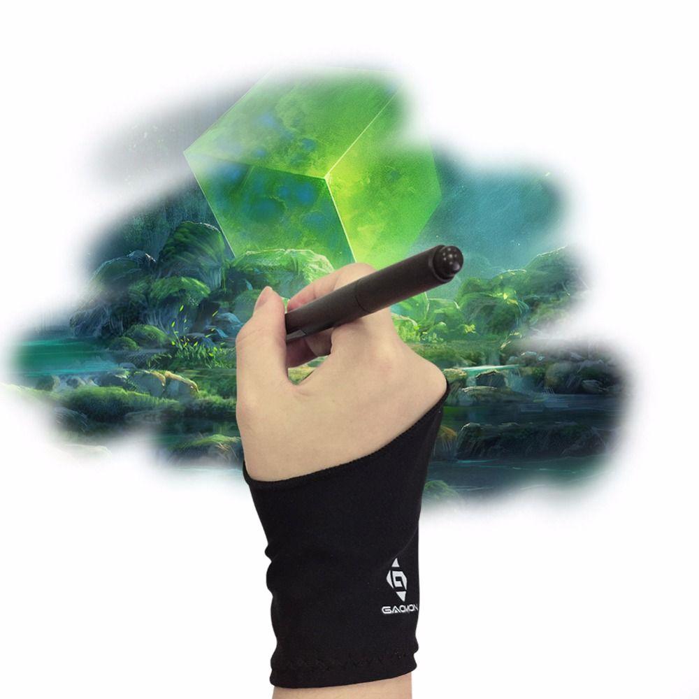 Gant noir anti-dérapant en Lycra pour tablette graphique/boîte à lumière LED/écran de stylo-taille libre