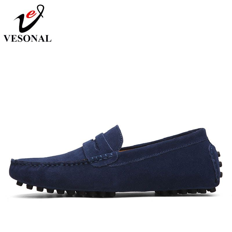 VESONAL Spring Summer Breathable Moccasins Men Loafers Shoes Male Flats Genuine Leather Casual Boat Walking Driver Footwear 2018