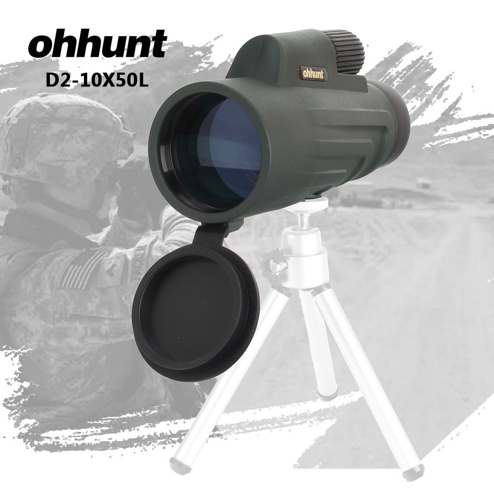 ohhunt 10X50 Mini Binoculars Monocular BAK4 Prism Professional Spotting Scope High Powerful Zoom Telescope for Hunting Camping