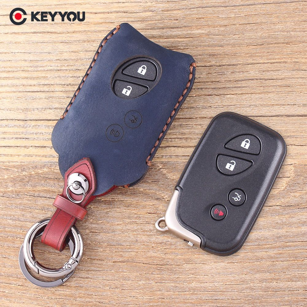 KEYYOU Genuine Leather Key Shell 4 Buttons Key Case Fob Case For Lexus GS430 ES350 GS350 LX570 IS350 RX350 IS250