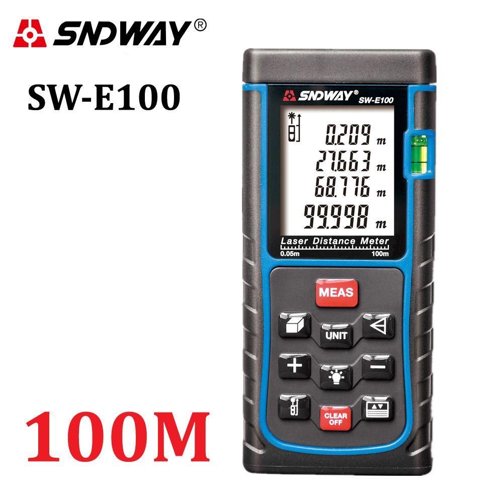 Compteur de distance laser numérique SNDWAY trena ruban à mesurer laser outil de testeur de diviseur 100M-80M-70M-60M-50M-40M télémètre Laser