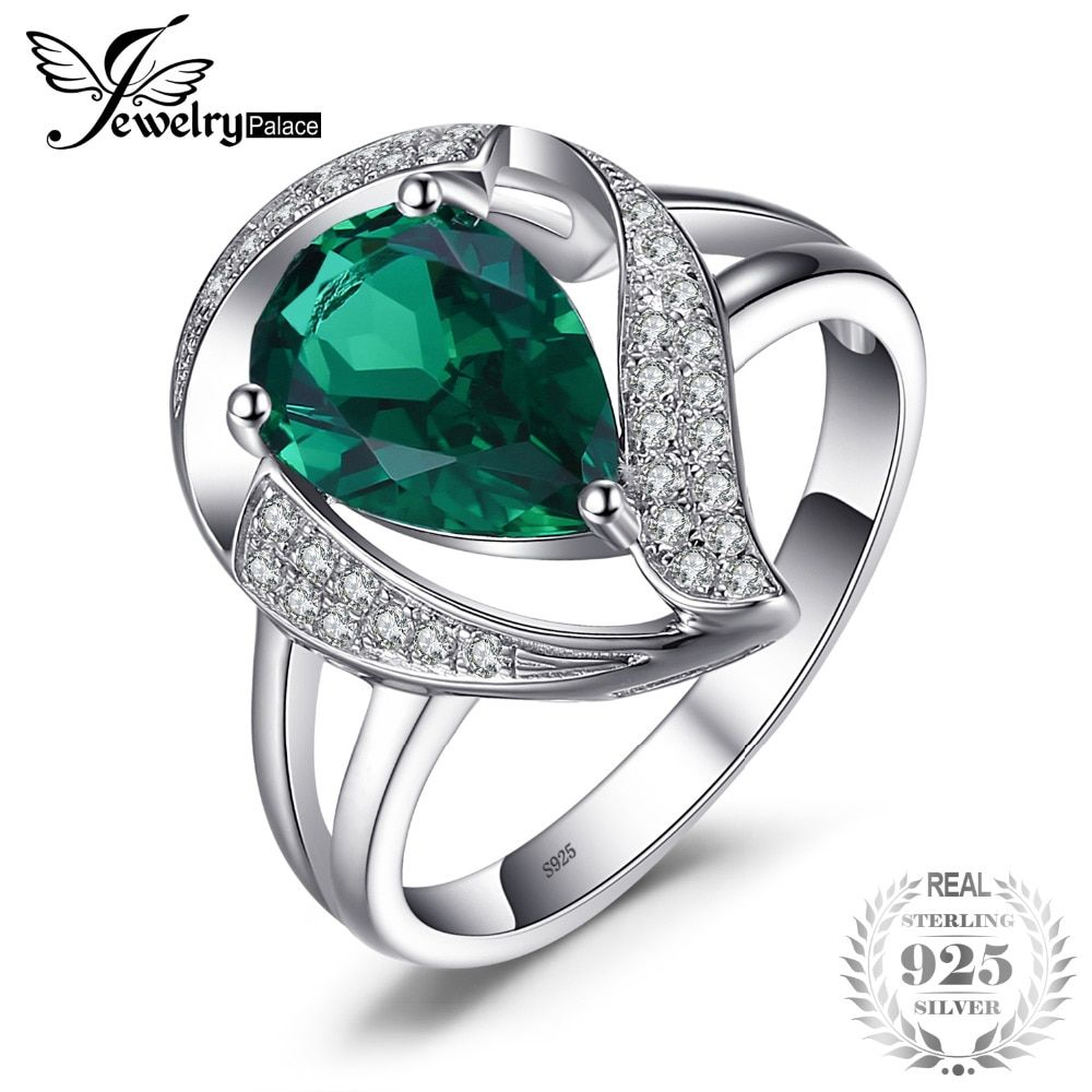 JewelryPalace 1.7ct Created Emerald Ring For Women Solid 925 Sterling Silver Jewelry Wedding Charm Ring
